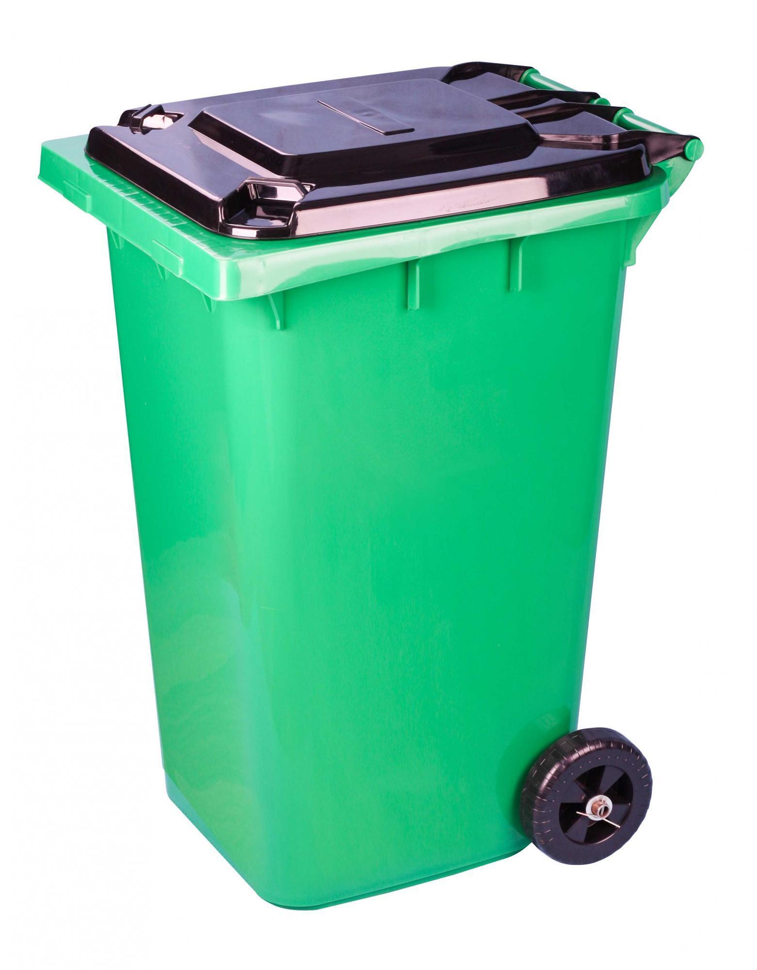Бак для мусора 240л на колесах зеленый (Альтернатива) М5937 фото