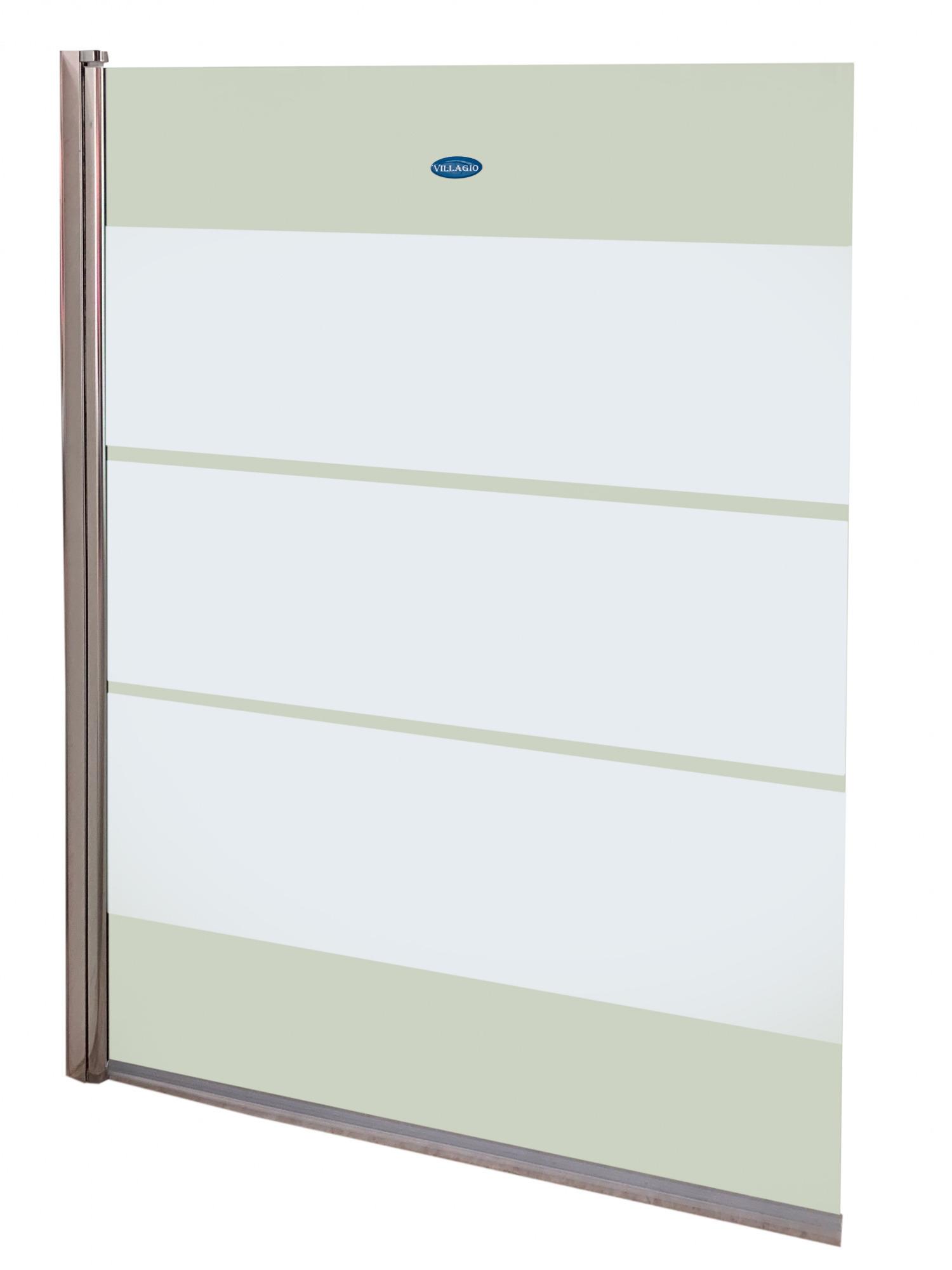 Купить со скидкой Шторка на ванну Villagio 95*140 прозрачн.стекло, матовые полосы Pf-S04