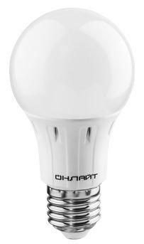 Купить со скидкой Лампа светодиодная Онлайт груша А65 E27 220V 12W 4500К холод.