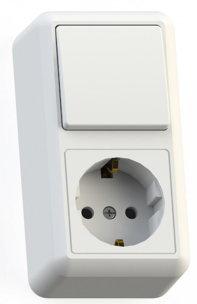 Купить со скидкой Блок Кунцево Электро Оптима Бквр-405 белый (1-кл. выкл. + розетка с заземлением)