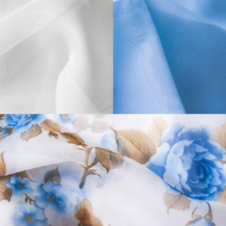 Купить Комплект штор для кухни 280х160 Мелодия голубой прав, Witerra, вуаль