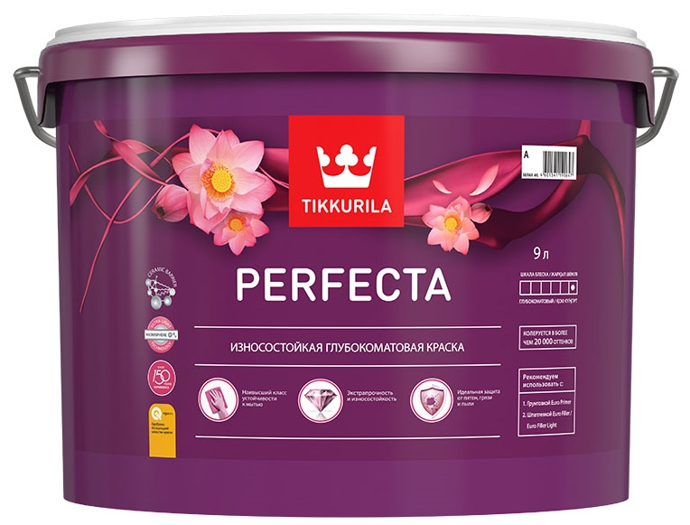 Купить со скидкой Краска интерьерная Tikkurila Perfecta база A гл/мат. 9л износостойкая