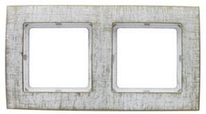 Рамка Duwi Palazzo Vintage 2-я горизонтальная белое золото 26584 9 фото