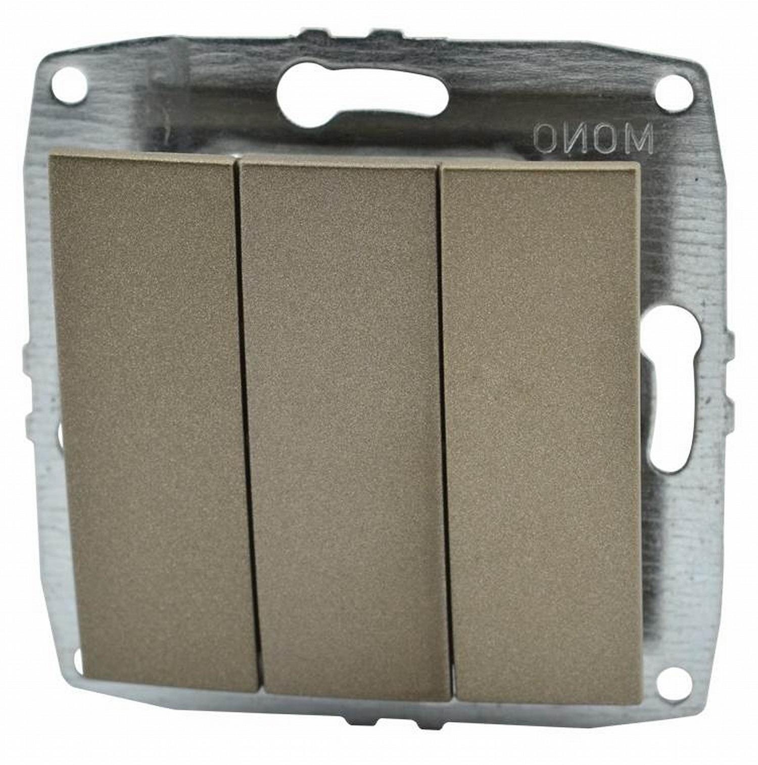 Выключатель Mono D/L 3кл бронза (механизм) 500-002322-114 фото