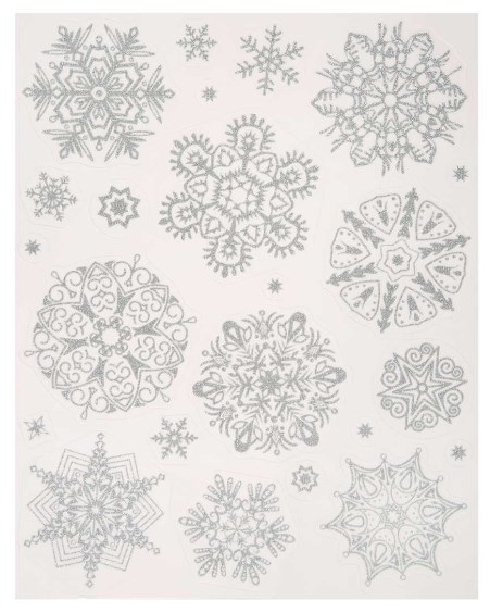 Новогоднее оконное украшение Серебряные пушистые снежинки 80395 фото