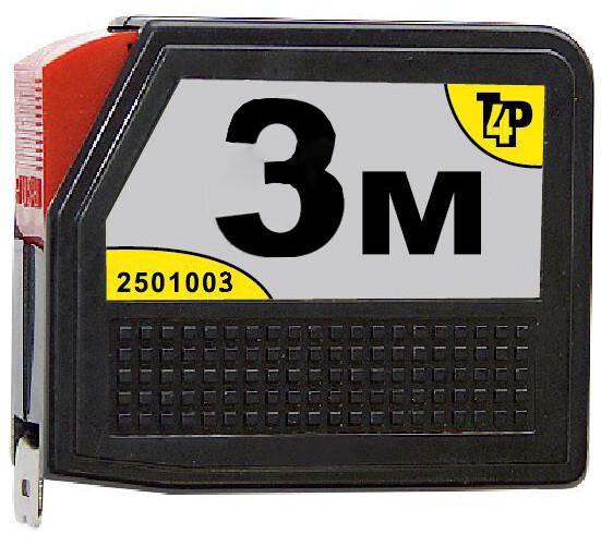 Рулетка T4p 3м*12,5мм, пластиковый корпус, автостоп 2501003