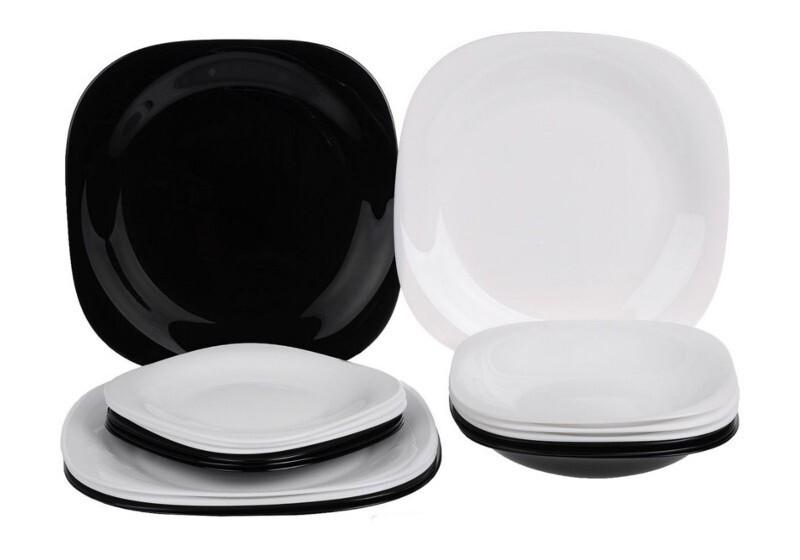 Купить со скидкой Столовый набор 18 предметов Карин черно-белый N1489