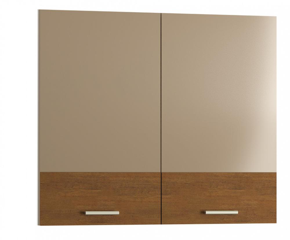 Купить Фасад кухонный Адель Мокко гл./Какао горизонт 800х680мм 2 дв., коричневый, MOBI Адель
