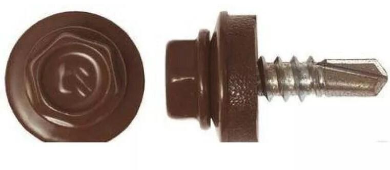 Саморез кровельный 5,5х19 (60шт) Св.ral-8014 (шоколад.корич.) 125702 фото