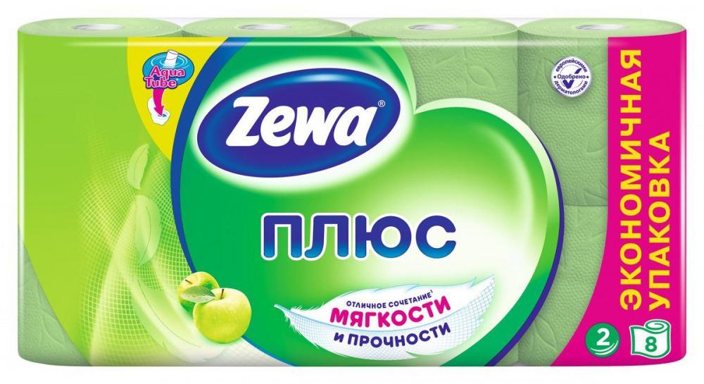 Бумага туалетная Zewa Plus 2 слоя Яблоко (8шт) фото