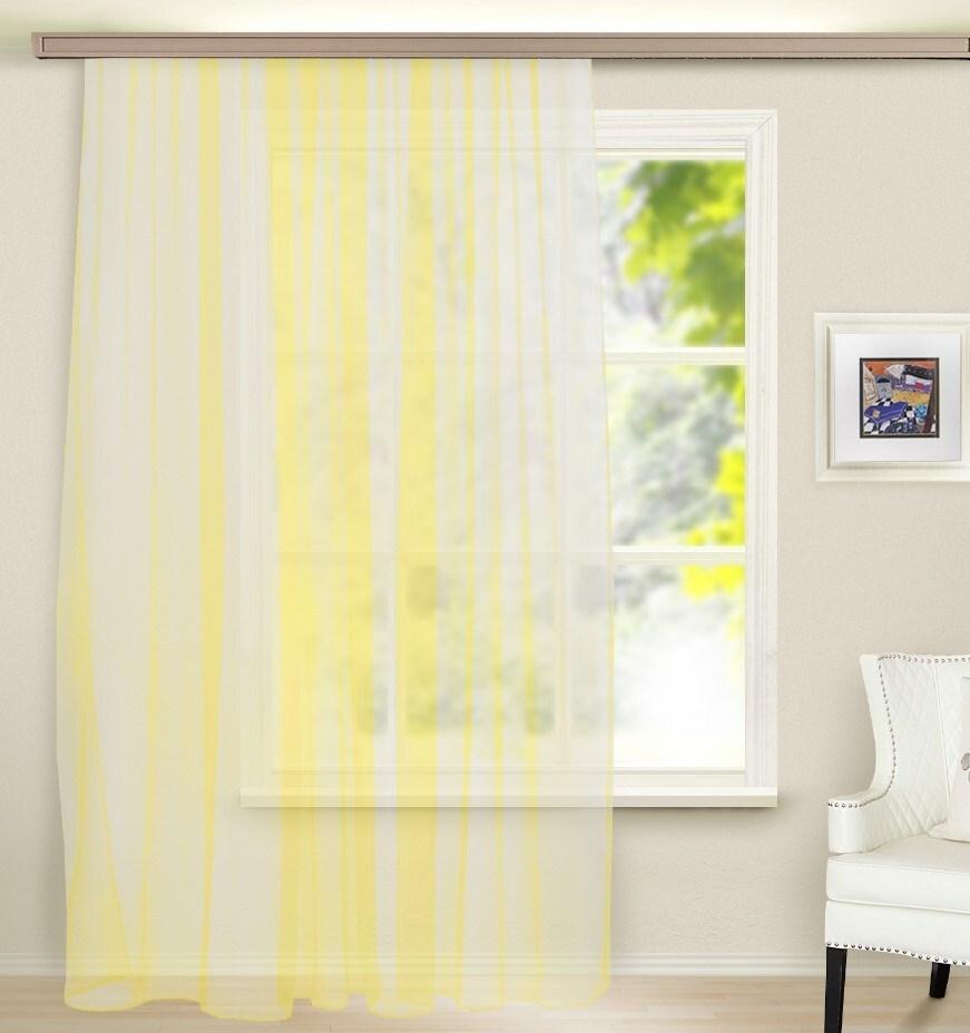 Тюль для кухни140х160 Кристалл желтый л1819 фото