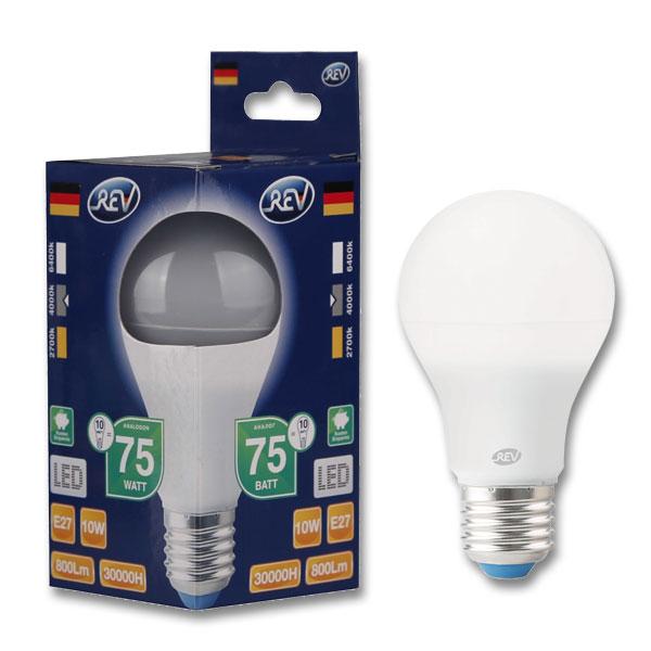 Купить со скидкой Лампа светодиодная Rev груша A60 E27 220V 10W 4000K холод. (32267 2)