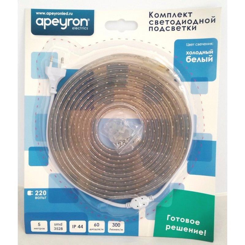 Купить Комплект светодиодной ленты 3528 Apeyron 220V 60д/м Rgb 5м Ip44 (10-52), Areon