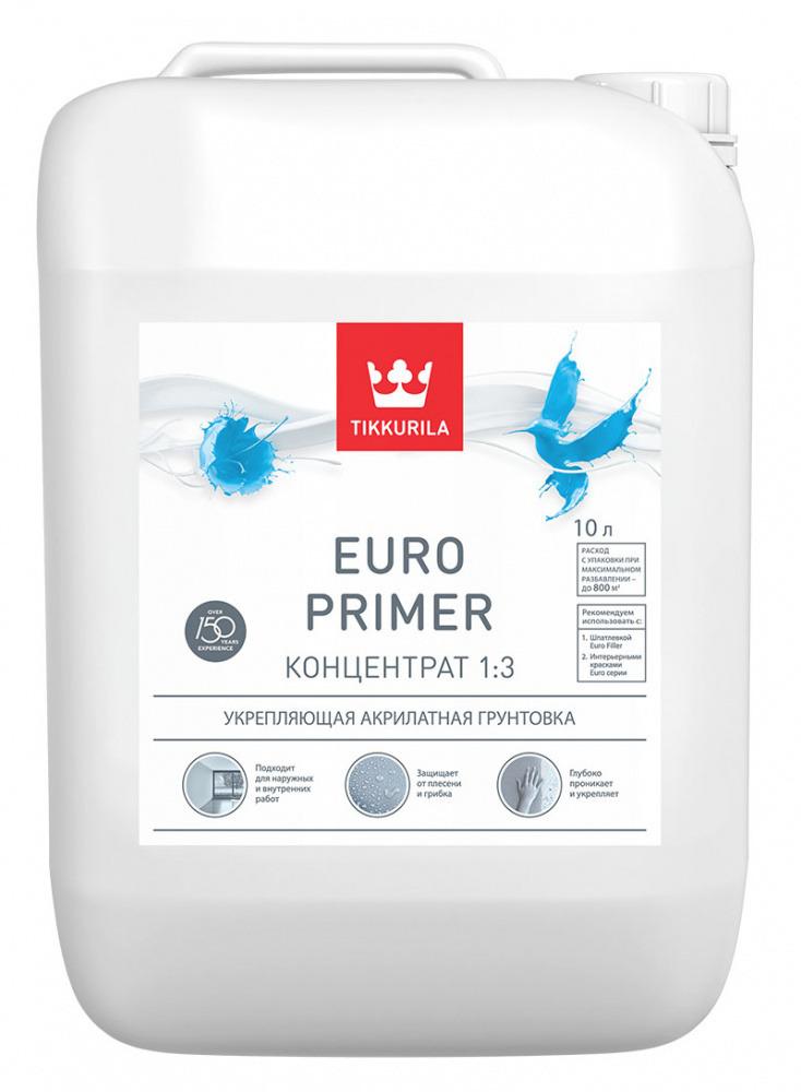 Купить со скидкой Грунт укрепляющий Тikkurila Euro Primer 10л концентрат 1:3