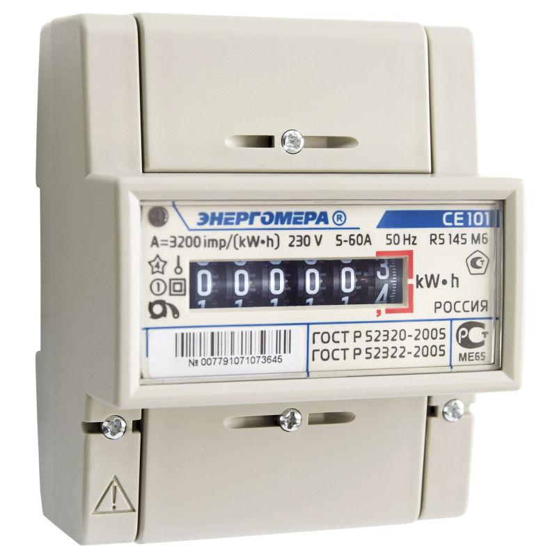 Электросчетчик Се 101 R5 (220В,5-60А,1кл. мех. экран DIN-рейка) фото