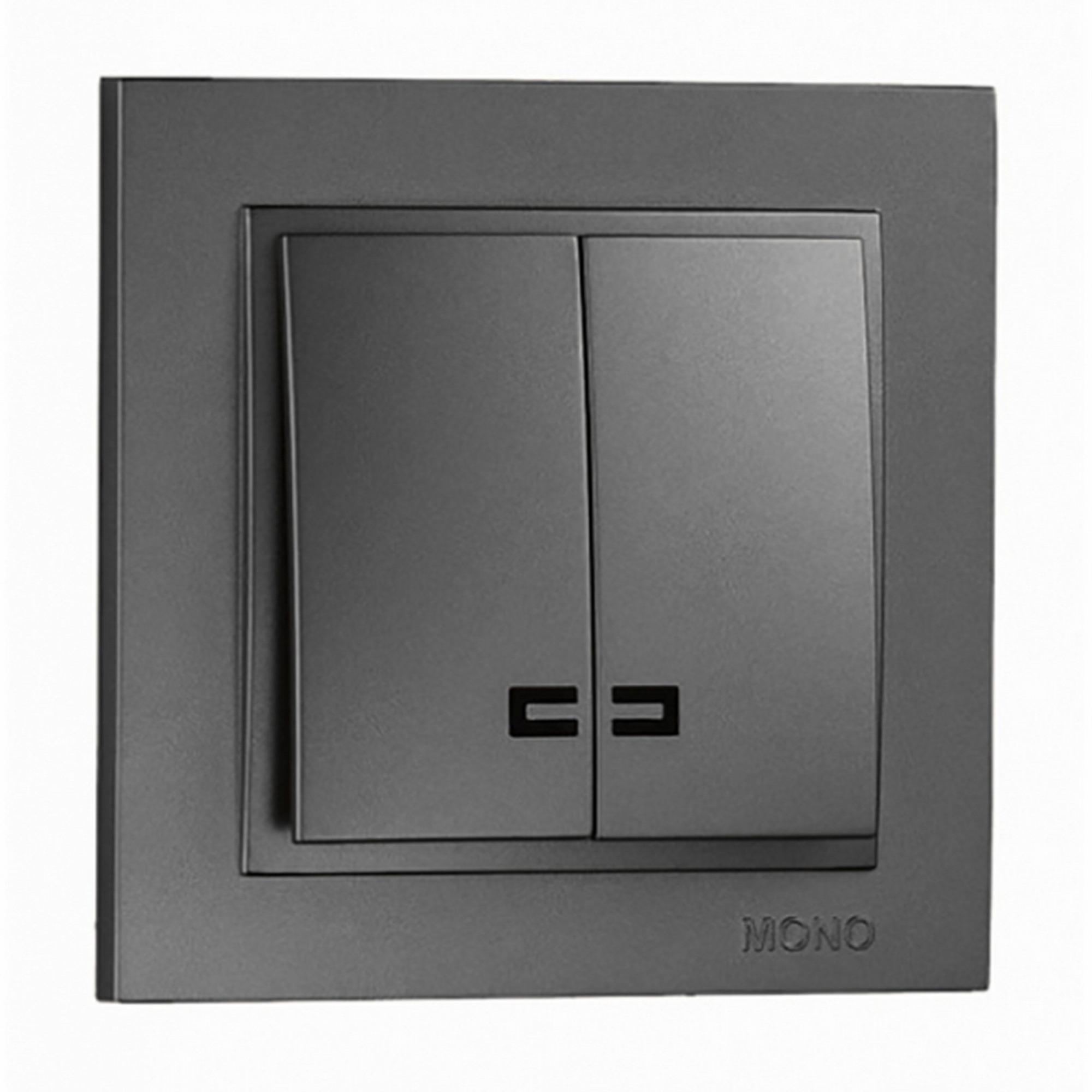 Выключатель Mono Despina 2кл с подсветкой графит 102-202025-103 фото