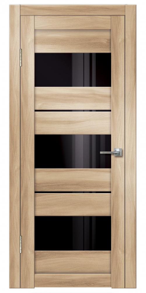 Купить со скидкой Дверь пвх Виктория 900х2000мм барон светлый лакобель черный