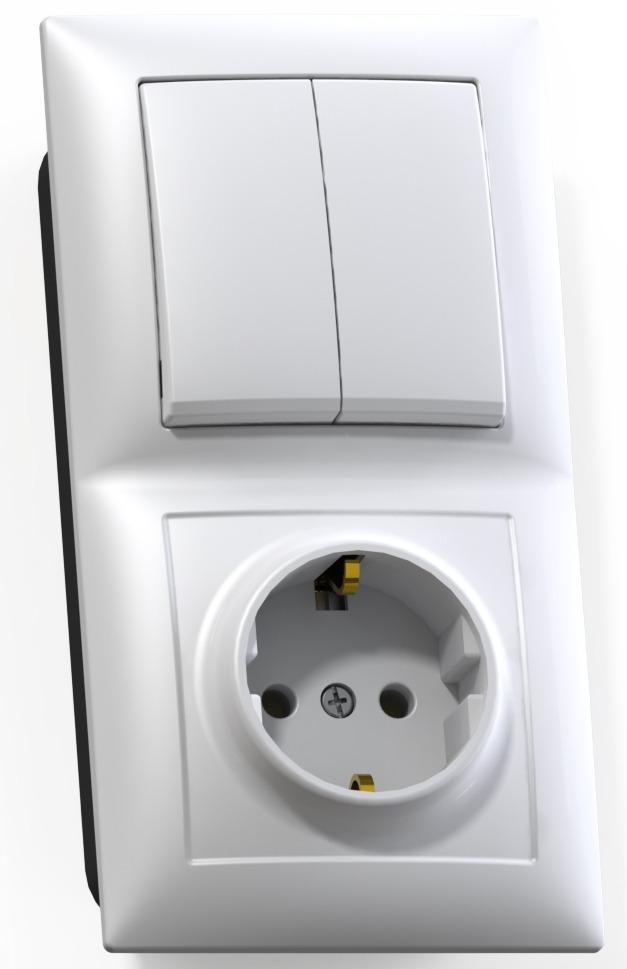 Купить со скидкой Блок Кунцево Электро Селена Бквр-412 белый (2-кл. выкл. + розетка с заземлением)