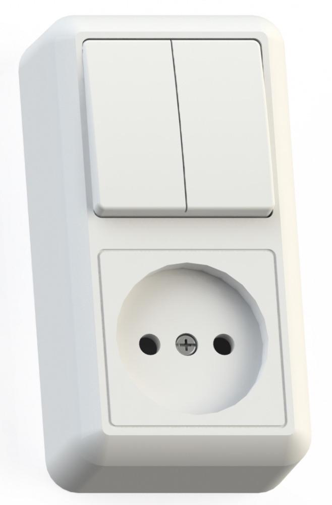 Блок Кунцево Электро Оптима Бквр-404 белый (2-кл. выкл. + розетка без заземления) фото