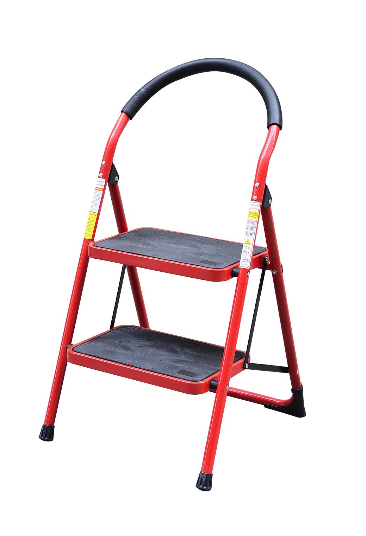 Стремянка стальная Homeproffe Wg604-2C, 2 ступ., красная фото