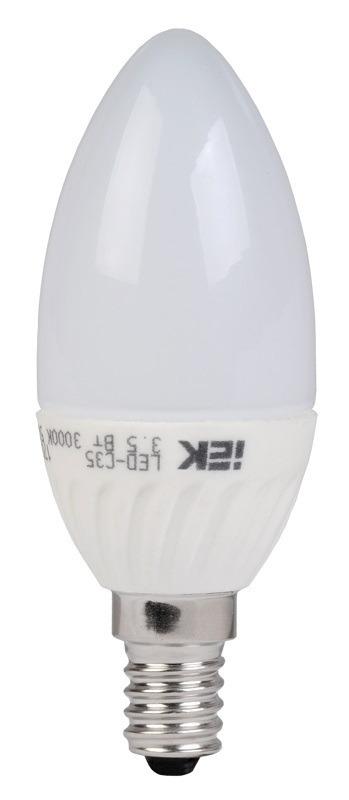 Лампа светодиодная Iek свеча C37 E14 230V 5W 4000K холод. фото