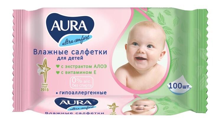 Салфетки влажные-100 Aura детские