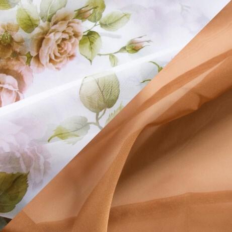 Купить Комплект штор для кухни 285х160 Кантри какао, Witerra, вуаль