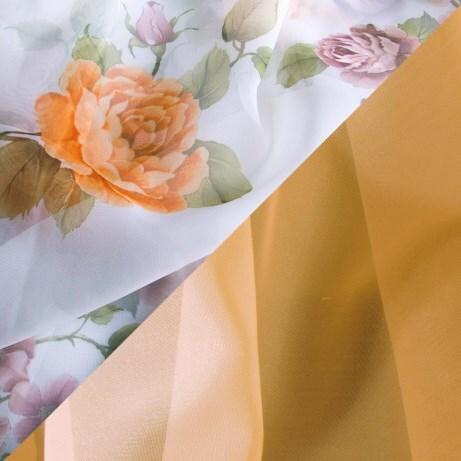 Купить Комплект штор для кухни 285х160 Кантри персик, Witerra, персиковый, вуаль