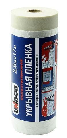 Купить со скидкой Пленка защитная укрывная с малярной лентой 2.6*17м Unibob 35547