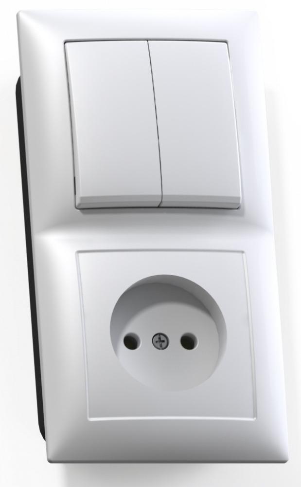 Блок Кунцево Электро Селена Бквр-409 белый (2-кл. выкл. + розетка без заземления) фото