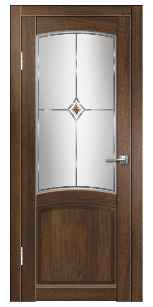 Купить Дверь пвх Румба 800х2000мм орех тисненный красный ромб стекло, Дверная Линия, итальянский орех, деревянный массив, ЛВЛ, МДФ