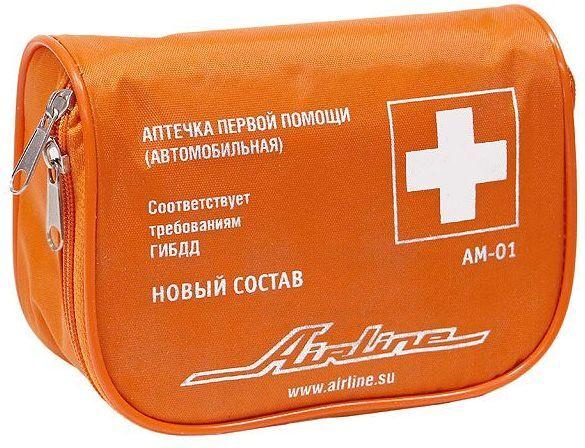 Аптечка автомобильная текстильный футляр Airline Ам-01