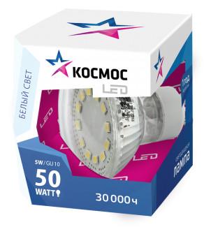 Купить Лампа светодиодная Космос рефлектор Gu10 220V 5W 4500К холод.