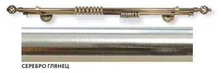 Карниз двухрядный Ареццо Фэшн d16мм.-2.8м. серебро глянец 444 фото
