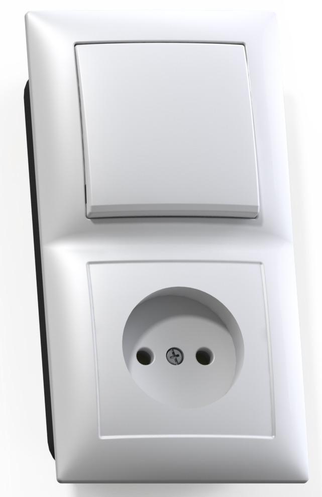 Блок Кунцево Электро Селена Бквр-408 белый (1-кл. выкл. + розетка без заземления) фото