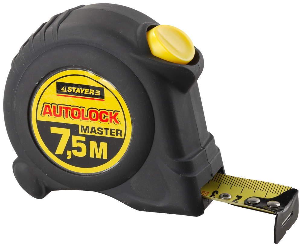 Рулетка Stayer АutoLock 7,5м*25мм, прорезиненный корпус, автостоп 2-34126-07-25_z01 Еланцы магазин строительных инструментов