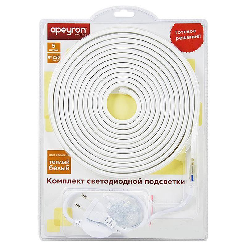 Купить со скидкой Комплект светодиодной ленты 2835 Apeyron 220V 60д/м теплый белый 5м Ip44 (10-58)
