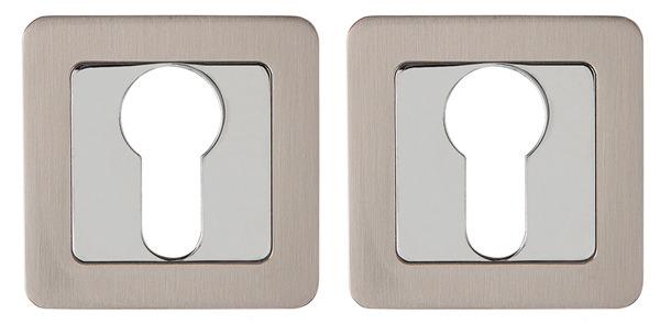 Накладка под цилиндр квадратная Punto Et Qr Sn/Cp-3 матовый никель/хром 34763 фото