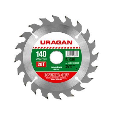 Пильный диск по дереву Uragan 140х20мм 20Т