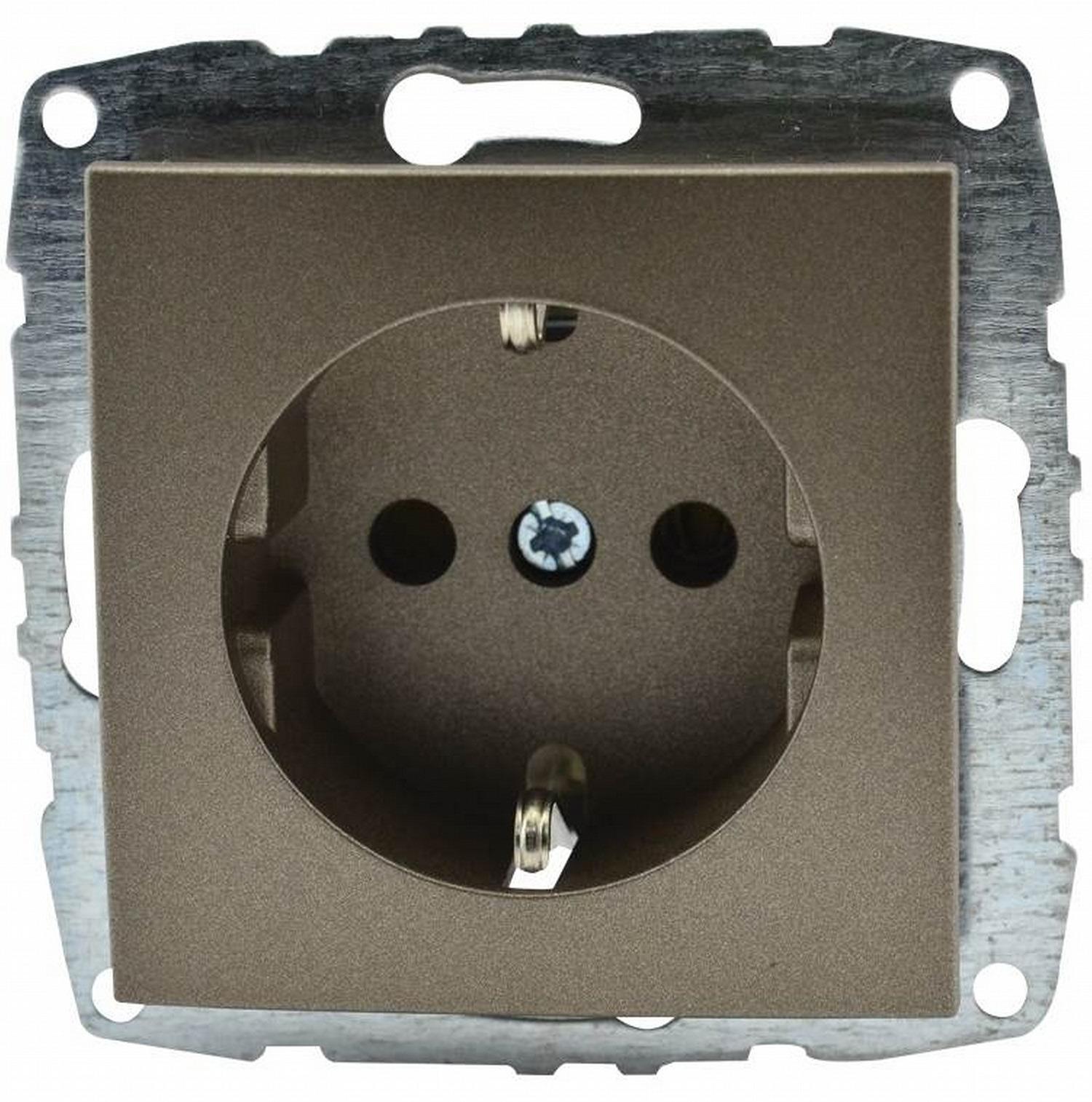 Розетка Mono D/L с заземлением бронза (механизм) 500-002321-117 фото