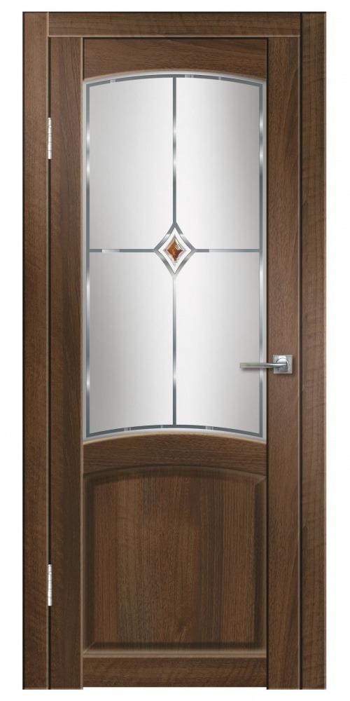 Купить Дверь пвх Румба 600х2000мм орех тисненный красный ромб стекло, Дверная Линия, итальянский орех, деревянный массив, ЛВЛ, МДФ