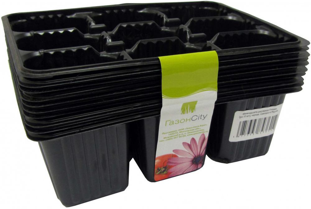 Мини-кассета рассадная 9 ячеек, 10шт, черная 0704022 фото