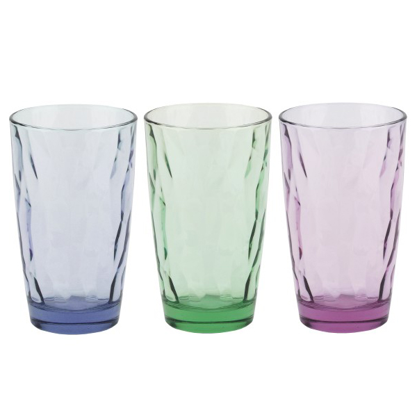 Купить Стакан 470 мл Bormioli Rocco Diamond высокий, микс цветов B350240m, многоцветный, стекло