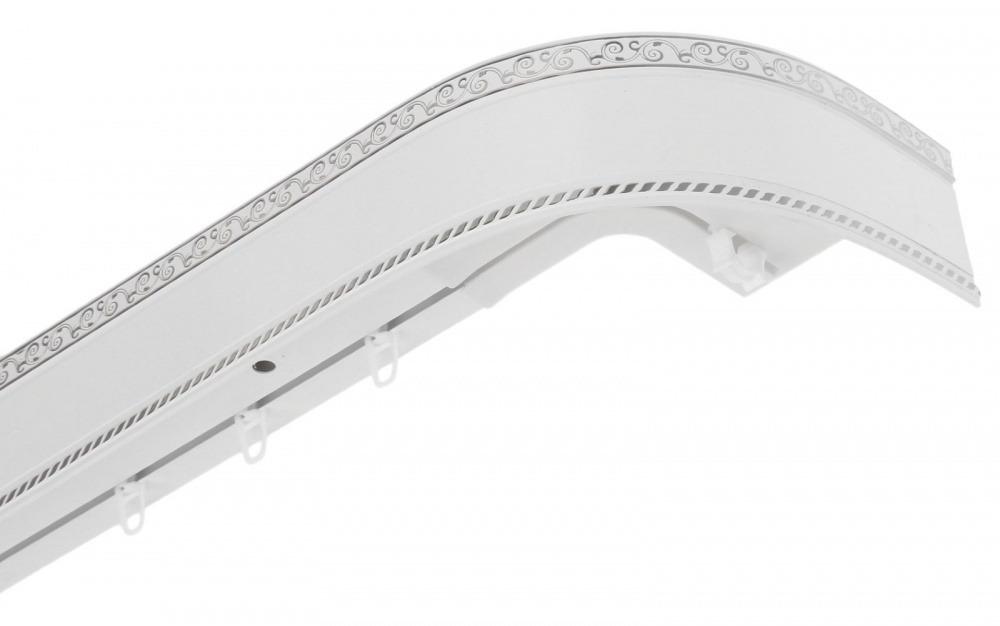 Карниз Есенин 200см. 3-х рядный серебро/белый фото