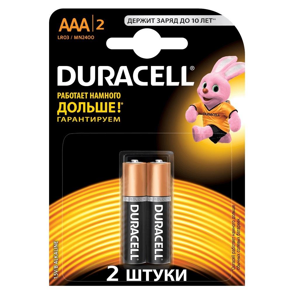 Батарейки Duracell Lr03-2Bl Basic New (2 шт на блистере) фото