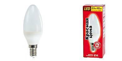 Лампа светодиодная Красная Цена свеча B35 Е14 7W 3000K 570лм теплый фото